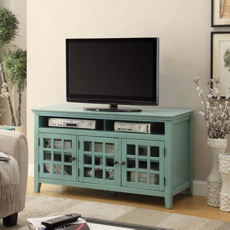 pemberly row tv stand  distressed antique turquoise