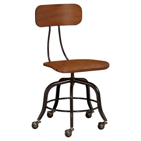 vintage wood swivel chair pbteen