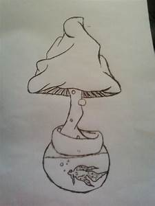 Drawn mushroom stoner - Pencil and in color drawn mushroom ...