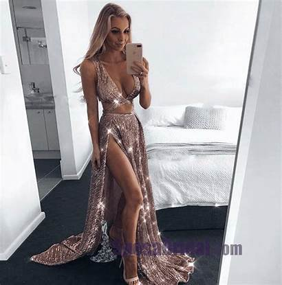 Dresses Prom Sequin Sparkly Evening Gold Outfit