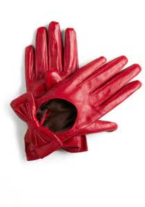 Red Leather Gloves with Bows