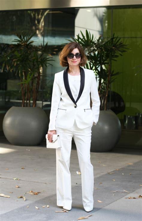 white tuxedo pant suit  women cool black suit
