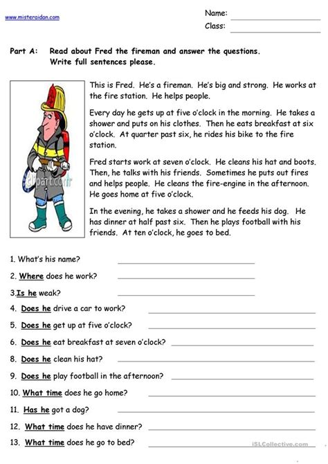 fred  fireman reading comprehension worksheet