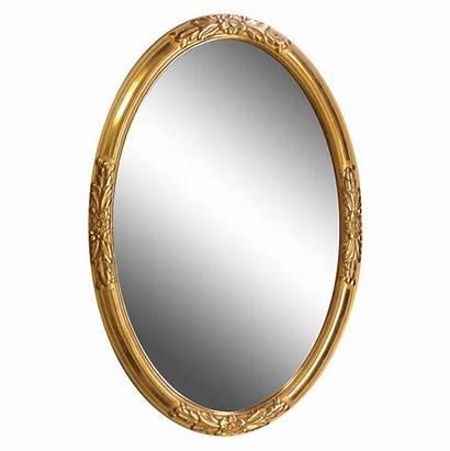Mirror Oval Transparent Frame Gold Wood Golden