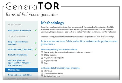 develop  terms  reference tor  evaluation