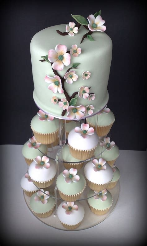 Small Things Iced Dogwood Wedding Cupcakes And Cutting Cake