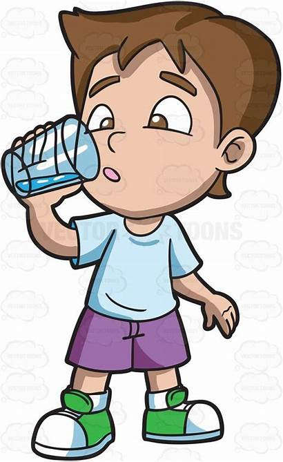 Drinking Water Cartoon Boy He Looking Clipart