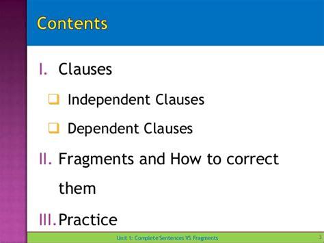 Unit 1 Complete Sentences Vs Fragments