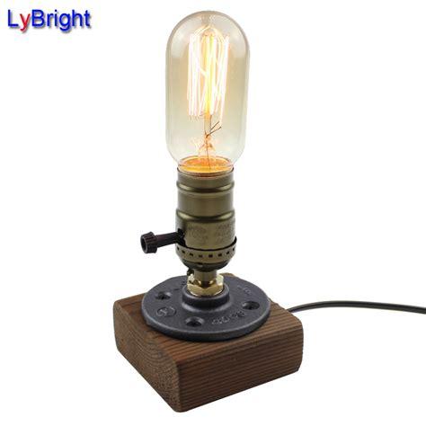 edison bulb table l vintage loft wood wooden table l light edison bulb e27