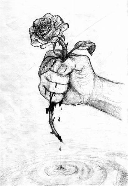 Roses Draw Drawings Rose Emo Sad Drawing