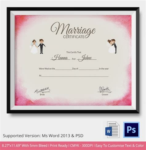 marriage certificate template   word  psd