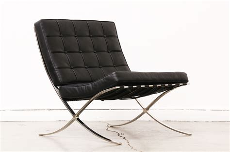 barcelona style chrome leather lounge chair vintage