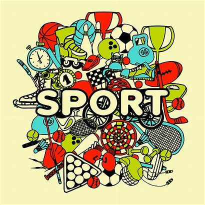 Collage Doodle Sport Vector Graphics Clipart Illustration