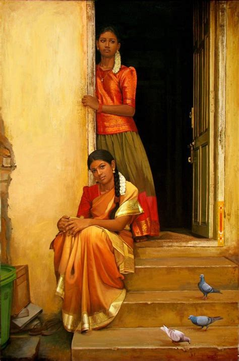 paintings  classical young women  tamil nadu india