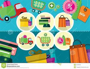 Online Shop De : internet shopping process and delivery icons stock vector illustration of graphic line 45496564 ~ Buech-reservation.com Haus und Dekorationen
