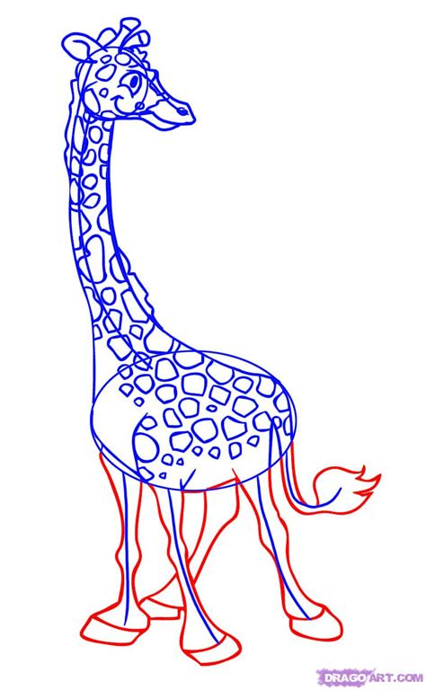 How To Draw A Cartoon Giraffe, Step By Step, Cartoon