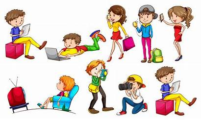 Doing Activities Different Background Vector Illustration Clipart