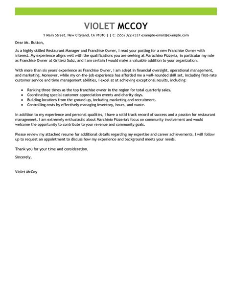 franchise owner cover letter exle
