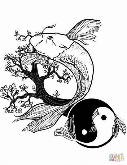 Yang Coloring Yin Tattoo Fish Pages Tattoos