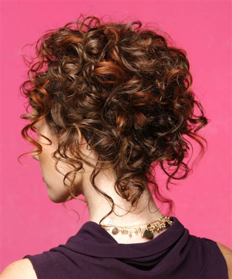 formal curly updo hairstyle mahogany hair color