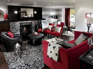 Retro red black and white family room hgtv for Red and black living room ideas