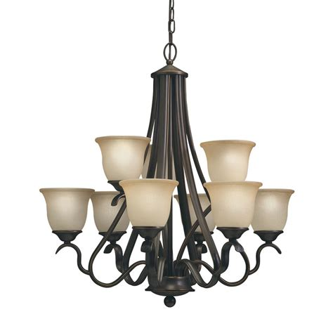 black light lowes shop portfolio llana 27 43 in 9 light black bronze craftsman hardwired etched glass shaded