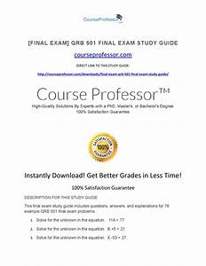 Qrb 501 Final Exam Study Guide By Sidra Zeeshan