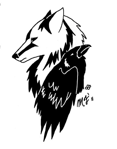 Nice Wolf Head And Black Raven Tattoo Design