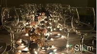 elegant party themes Elegant dining table with ornaments and elegant glasses