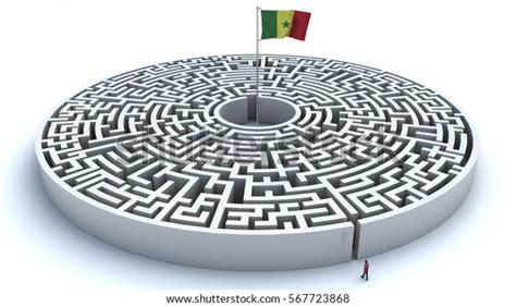 illustration maze flag senegal center stock