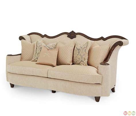 michael amini palace upholstery wood trim sofa by