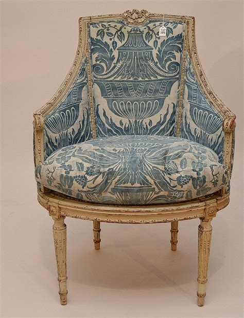 painted french arm chair  blue fortuny fabric