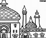 Mosque Coloring Drawing Printable Minarets Getdrawings sketch template