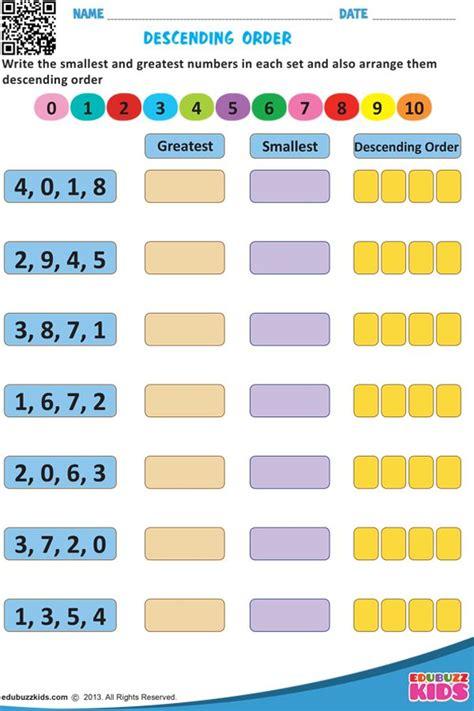 descending order  grade math worksheets  grade
