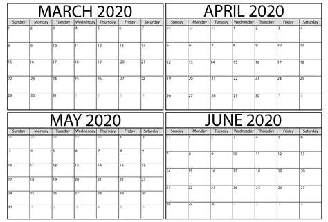 printable march  june  calendar  printable