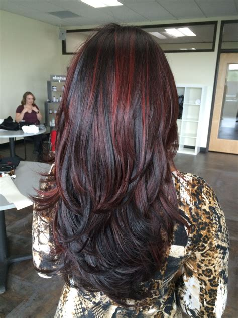 balayage red highlights dark hair long hair