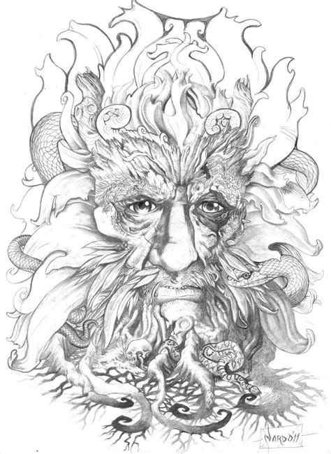 commition for a client back in Australia , the Greenman. | art in 2019 | Green man tattoo, Green