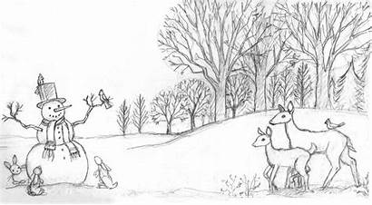 Winter Scene Drawing Landscape Coloring Pages Scenes