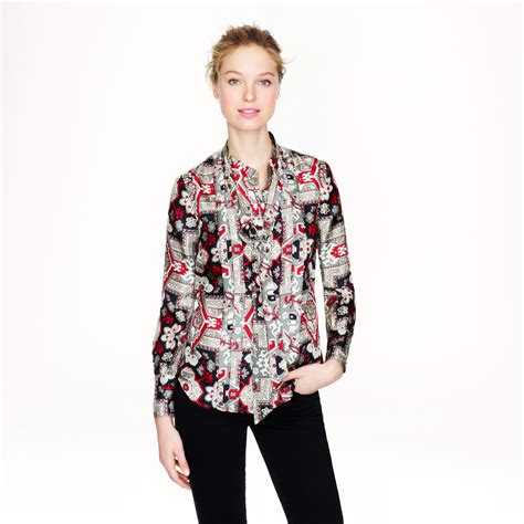 jcrew blouses j crew silk blouse in tapestry print in