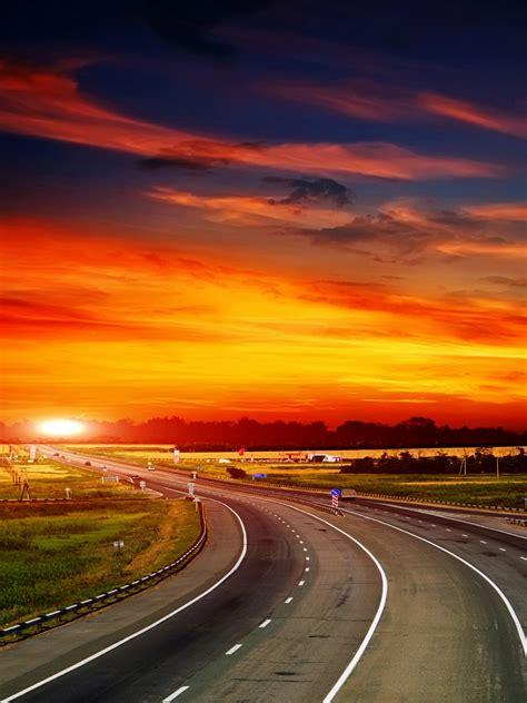 wallpaper highway sunset landscape hd world