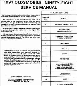 1991 Olds 98 Regency Elite  U0026 Touring Sedan Repair Shop Manual Original