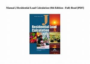 Residential Load Calculation Manual J Book