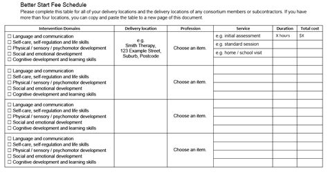 fee schedule templates  ms word  ms excel