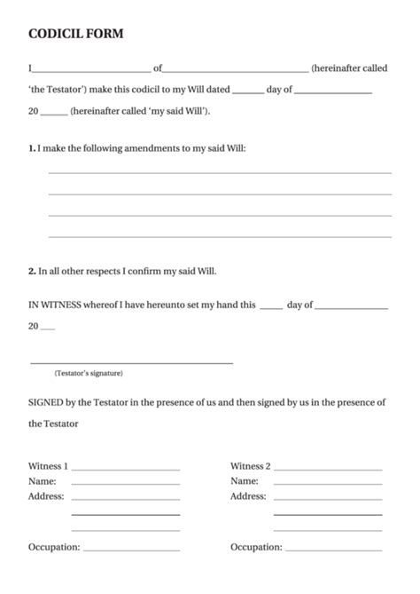 sample codicil form blank printable