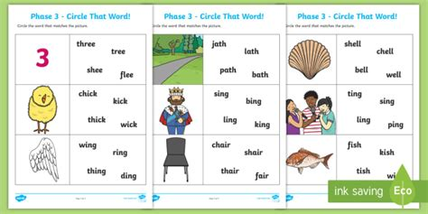 ch sh  ng circle  word worksheet teacher