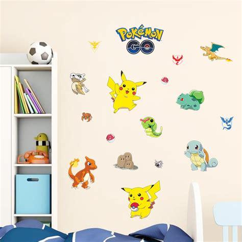 cartoon wall art pikachu wallpaper pokemon  wall paper decals  kids room bedroom sofa