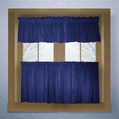 royal blue color tier kitchen curtain  panel set