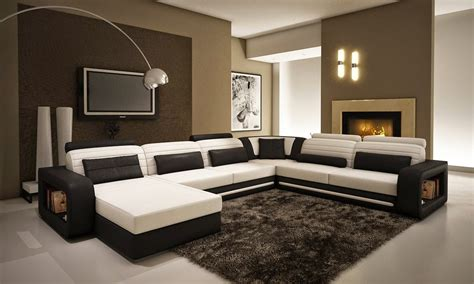 modern living room design with black and white leather u shaped sectional combined with