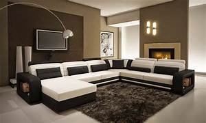 Modern living room design with black and white leather u for Sectionals for small rooms canada