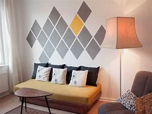 Peindre un mur avec un motif geometrique en forme de losanges for Tutoriel peindre un mur
